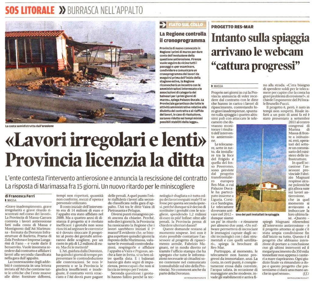 """Il Tirreno: """"«Lavori irregolari e lenti» La provincia licenzia la ditta"""""""