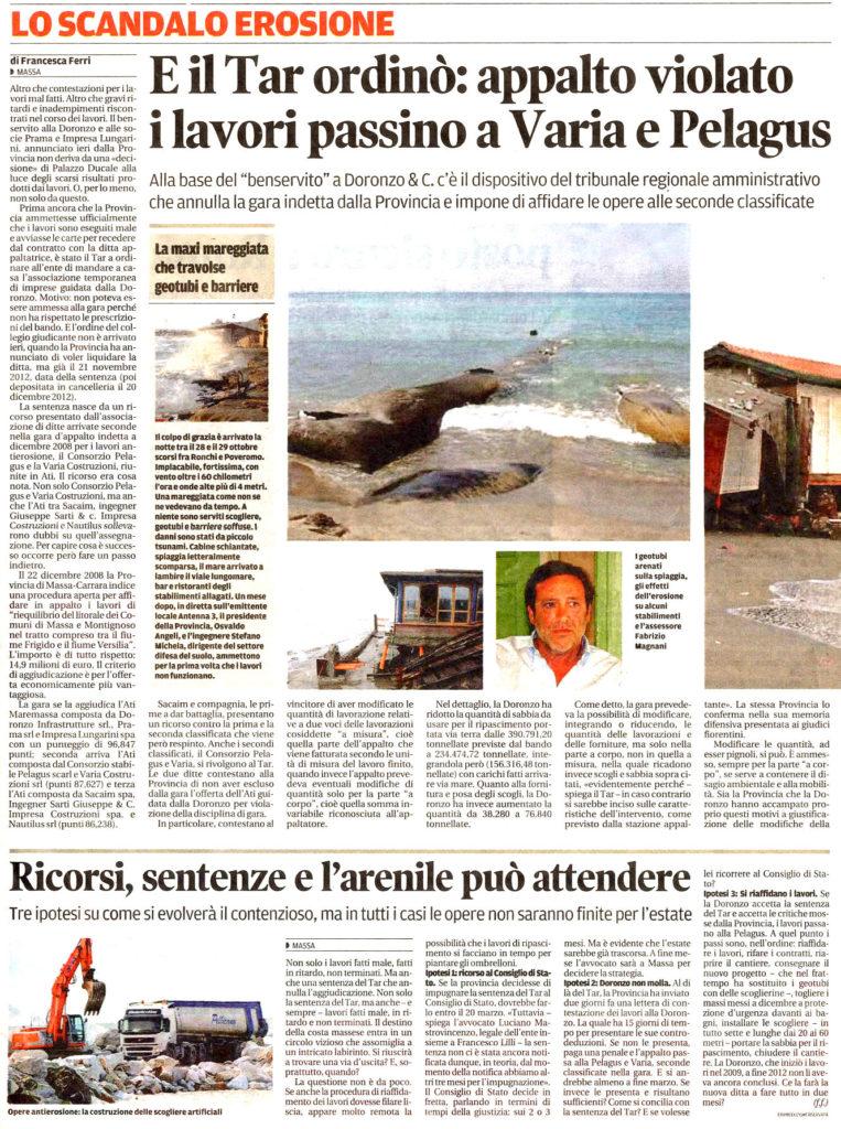 """Il Tirreno: """"E il Tar ordinò: appalto violato, i lavori passino a Varia e Pelagus"""""""