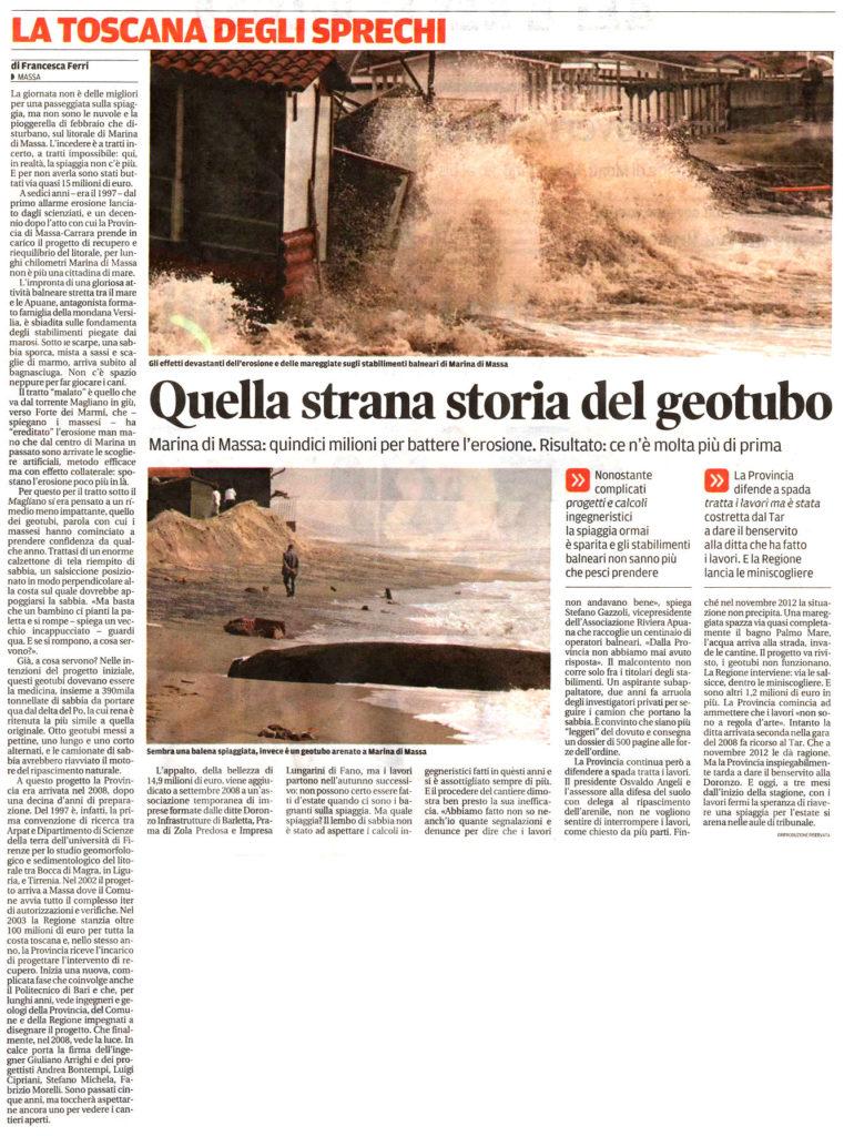 """Il Tirreno: """"Quella strana storia del geotubo"""""""