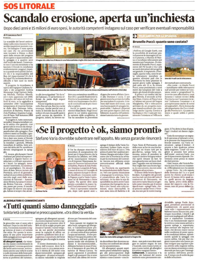 """Il Tirreno: """"Scandalo erosione, aperta un'inchiesta"""""""
