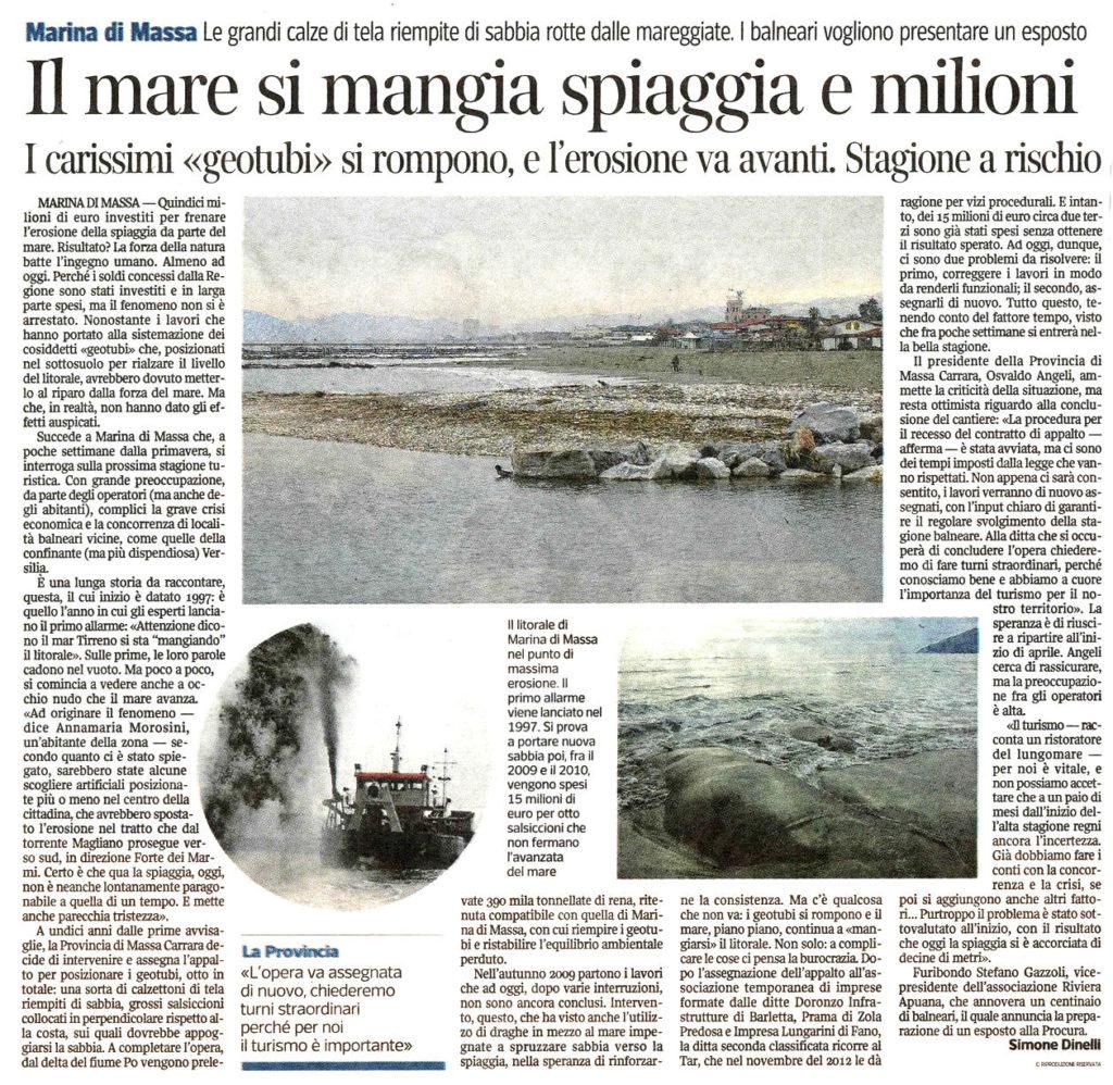 """Corriere Fiorentino: """"Il mare si mangia spiaggia e milioni"""""""