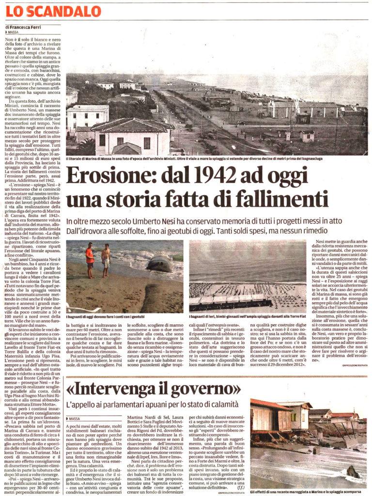 """Il Tirreno: """"Erosione: dal 1942 ad oggi una storia fatta di fallimenti"""""""