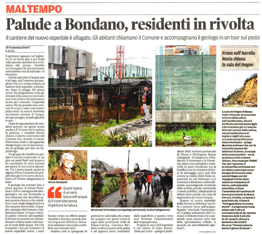 """Il Tirreno: """"Palude a Bondano, residenti in rivolta"""""""