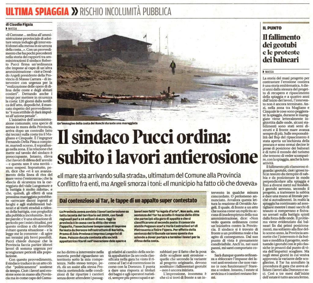 """Il Tirreno: """"Il sindaco Pucci ordina: subito i lavori antierosione"""""""