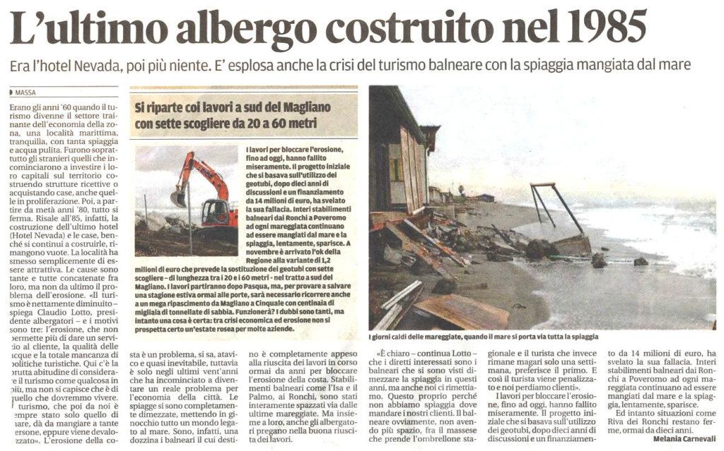 """Il Tirreno: """"L'ultimo albergo costruito nel 1985"""""""