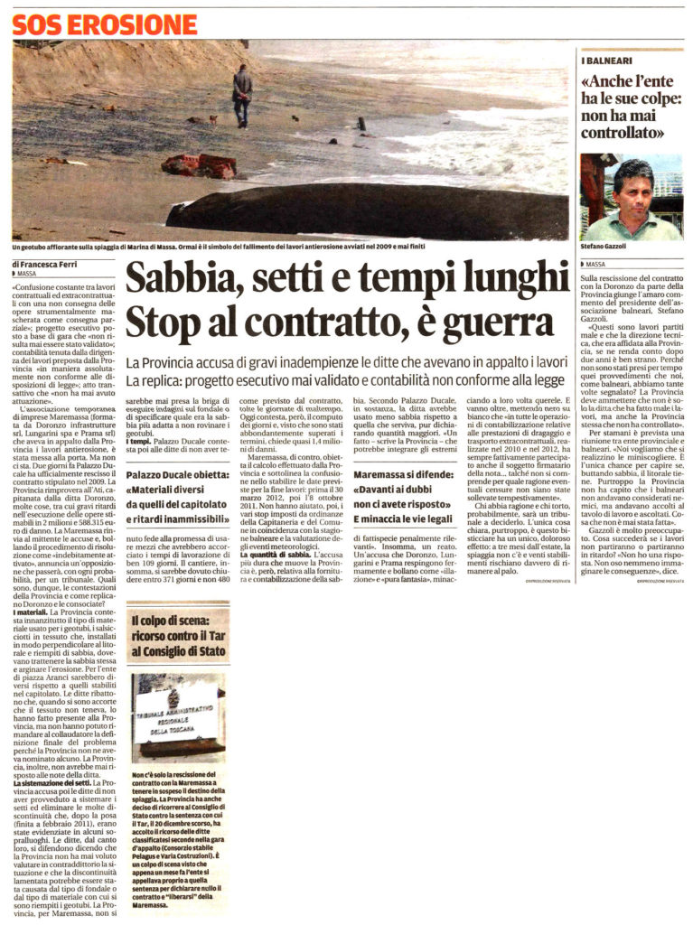 """Il Tirreno: """"Sabbia, setti e tempi lunghi. Stop al contratto, è guerra"""""""