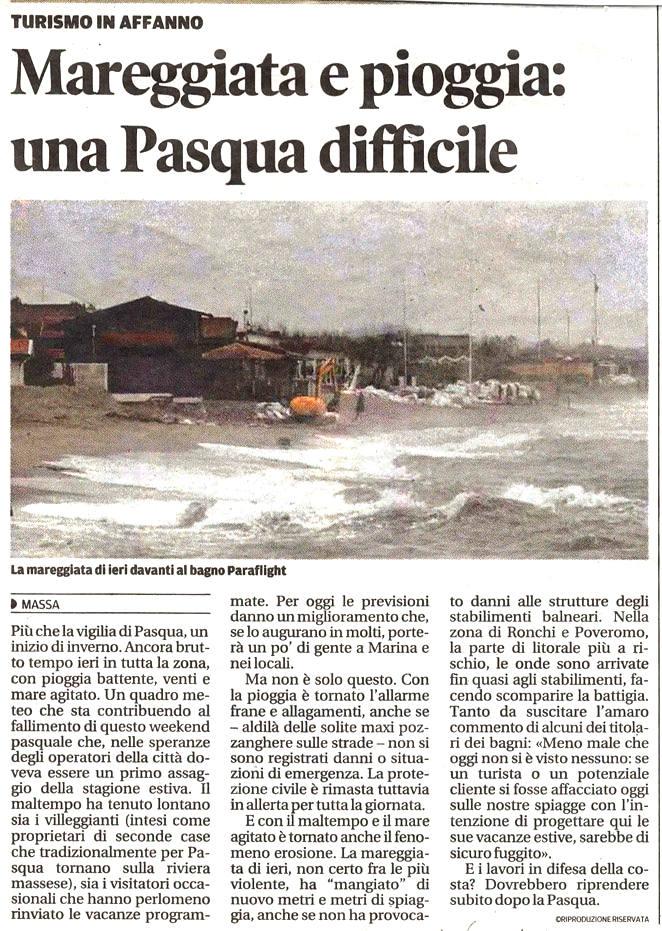 """Il Tirreno: """"Mareggiata e pioggia, una Pasqua difficile"""""""