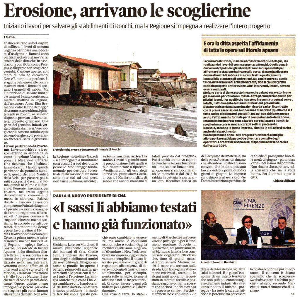 """Il Tirreno: """"Erosione, arrivano le scoglierine"""""""