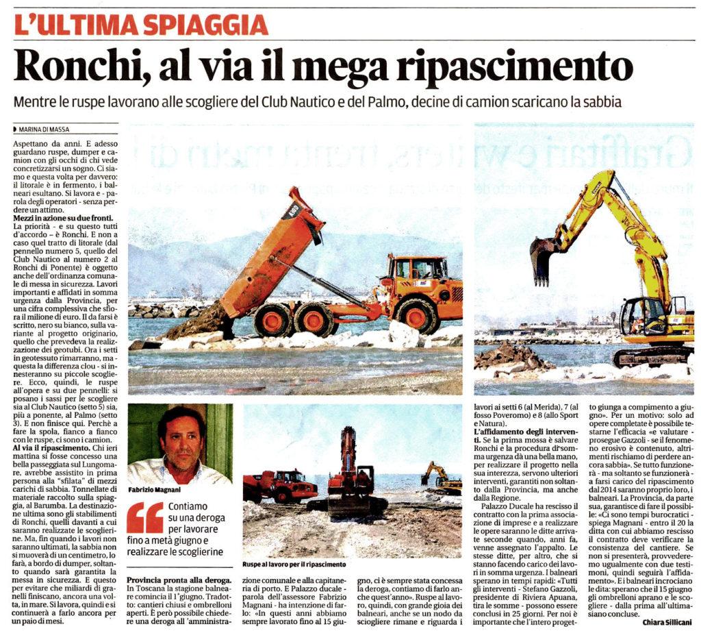 """Il Tirreno: """"Ronchi, al via il mega ripascimento"""""""