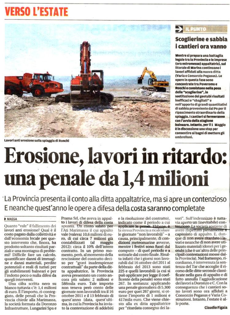 """Il Tirreno: """"Erosione, lavori in ritardo: una penale da 1,4 milioni"""""""