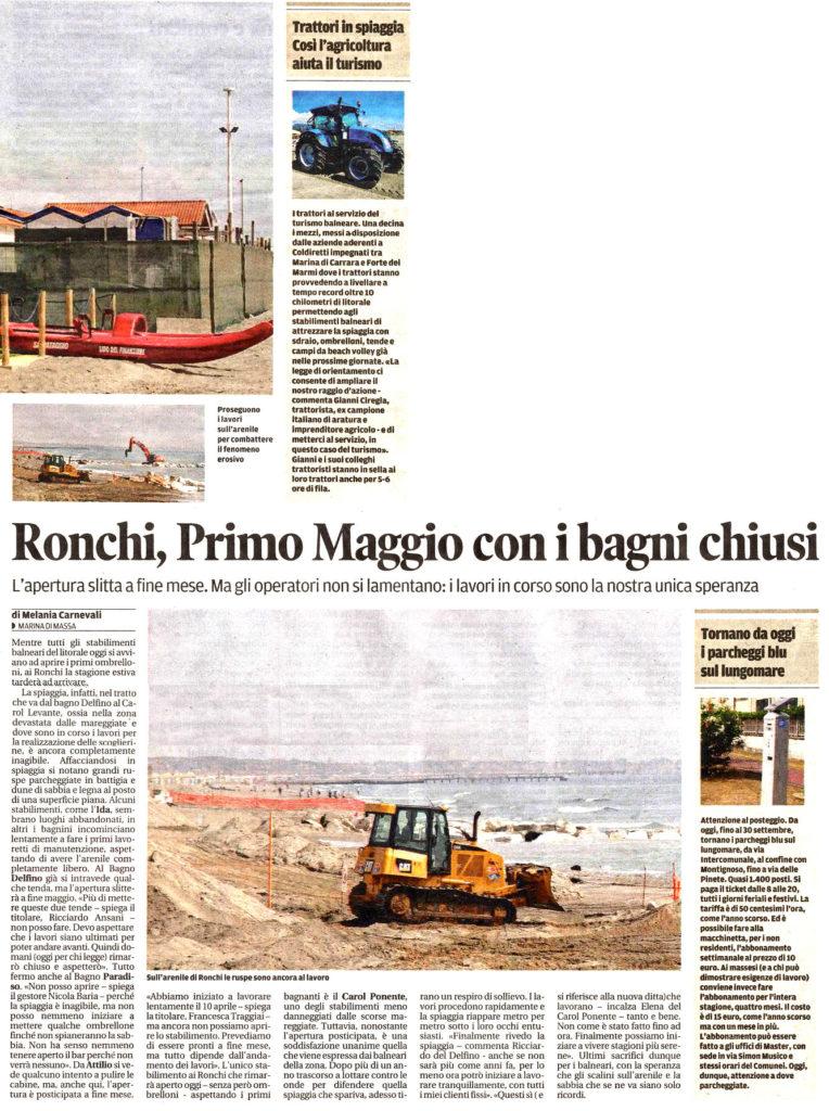 """Il Tirreno: """"Ronchi, Primo Maggio con i bagni chiusi"""""""