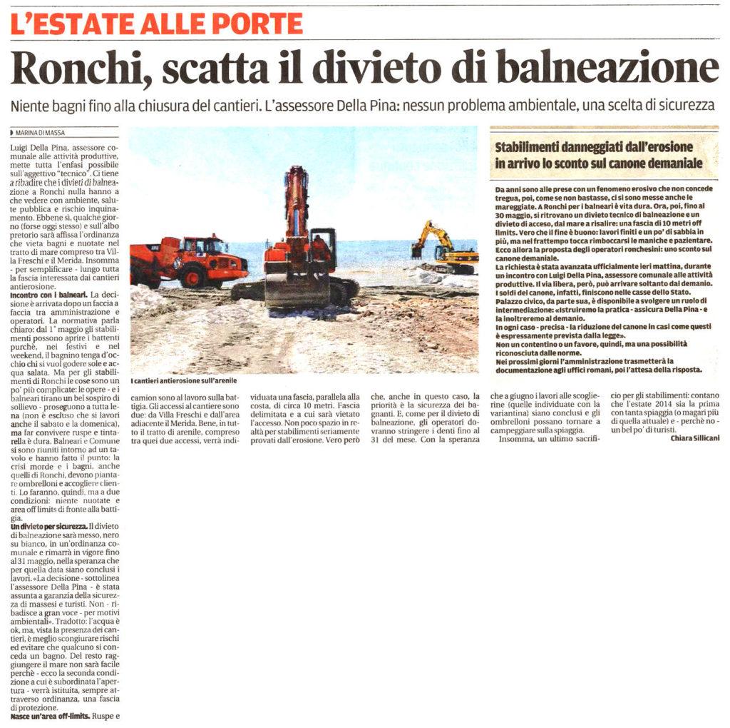 """Il Tirreno: """"Ronchi, scatta il divieto di balneazione"""""""
