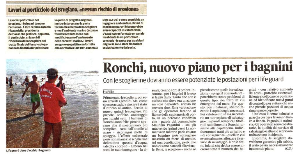"""Il Tirreno: """"Ronchi, nuovo piano per i bagnini"""""""