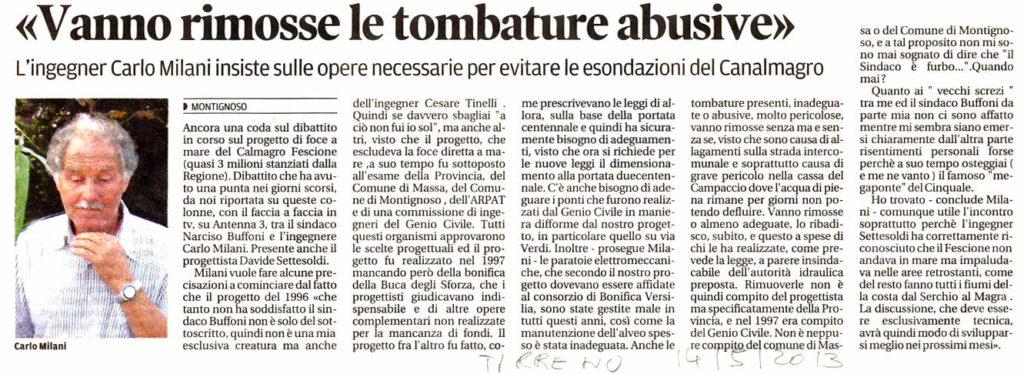 """Il Tirreno: """"Vanno rimosse le tombature abusive"""""""