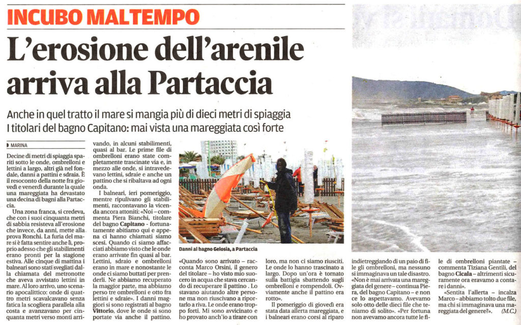 """Il Tirreno: """"L'erosione dell'arenile arriva alla Partaccia"""""""