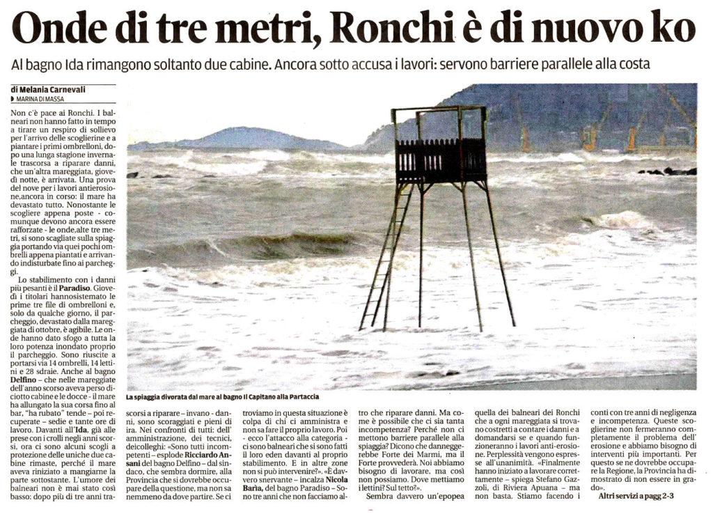 """Il Tirreno: """"Onde di tre metri, Ronchi è di nuovo ko"""""""