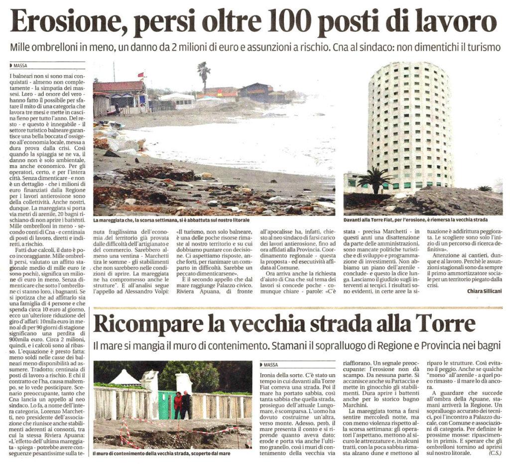 """Il Tirreno: """"Erosione, persi oltre 100 posti di lavoro"""""""
