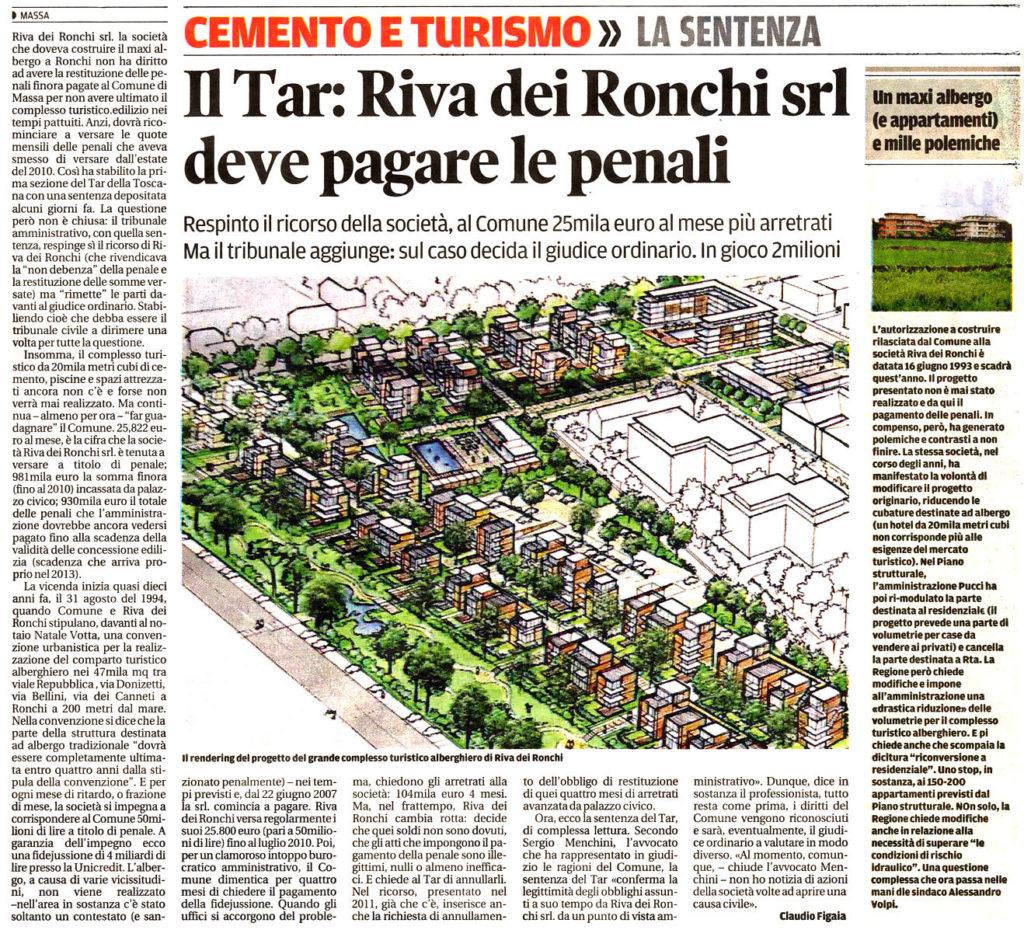 """Il Tirreno: """"Il Tar: Riva dei Ronchi srl deve pagare le penali"""""""