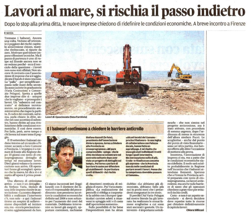 """Il Tirreno: """"Lavori al mare, si rischia il passo indietro"""""""