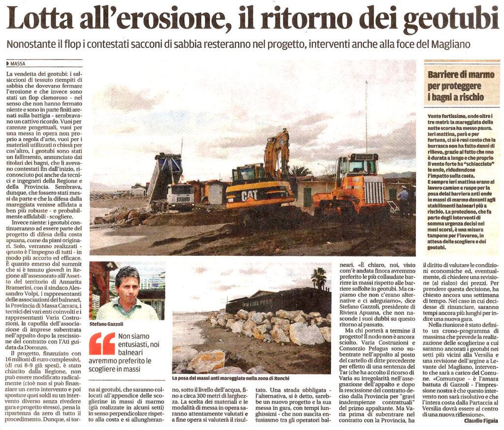 """Il Tirreno: """"Lotta all'erosione, il ritorno dei geotubi"""""""