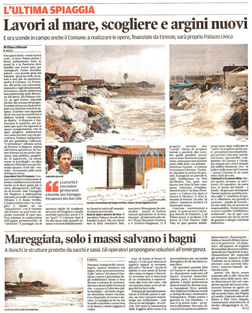 """Il Tirreno: """"Lavori al mare, scogliere e argini nuovi"""""""