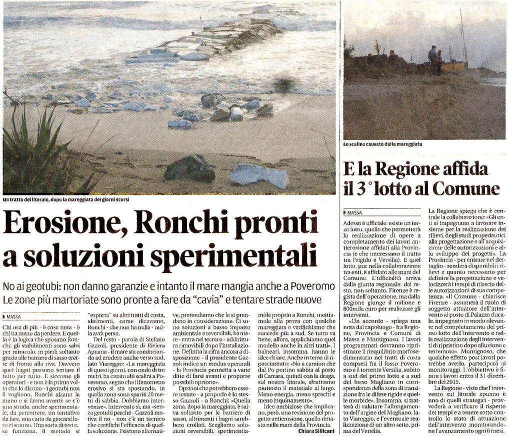 """Il Tirreno: """"Erosione, Ronchi pronti a soluzioni sperimentali"""""""