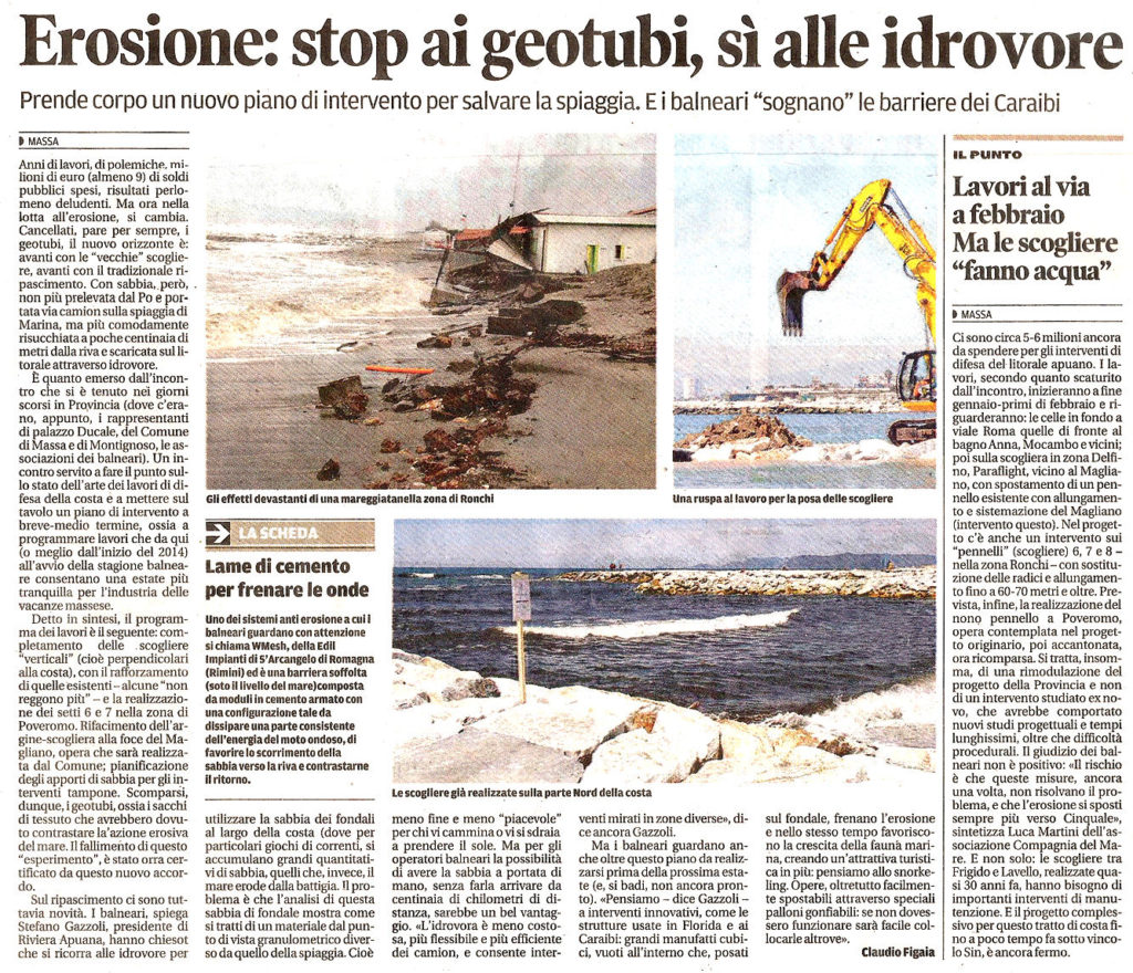 """Il Tirreno: """"Erosione, stop ai geotubi, sì alle idrovore"""""""