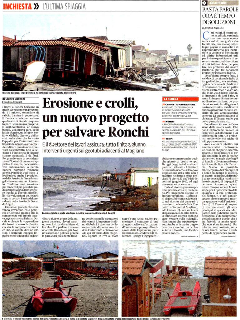 """12 Gennaio - Il Tirreno: """"Erosione e crolli, un nuovo progetto per salvare Ronchi"""""""