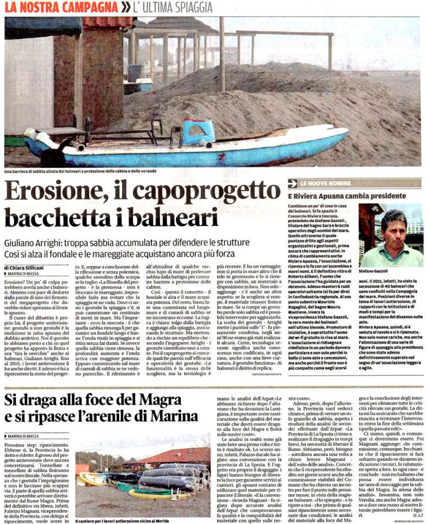 """23 Gennaio - Il Tirreno: """"Erosione, il capoprogetto bacchetta i balneari"""""""