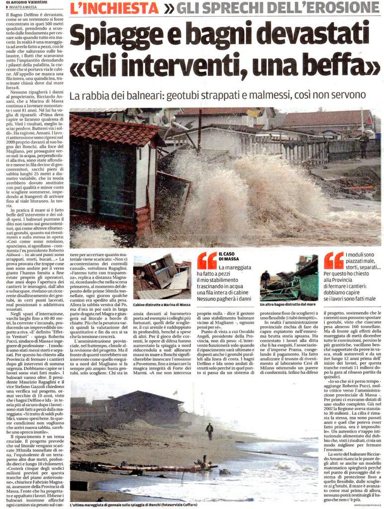"""06 Febbraio - Il Tirreno: """"Spiagge e bagni devastati. Gli interventi, una beffa"""""""