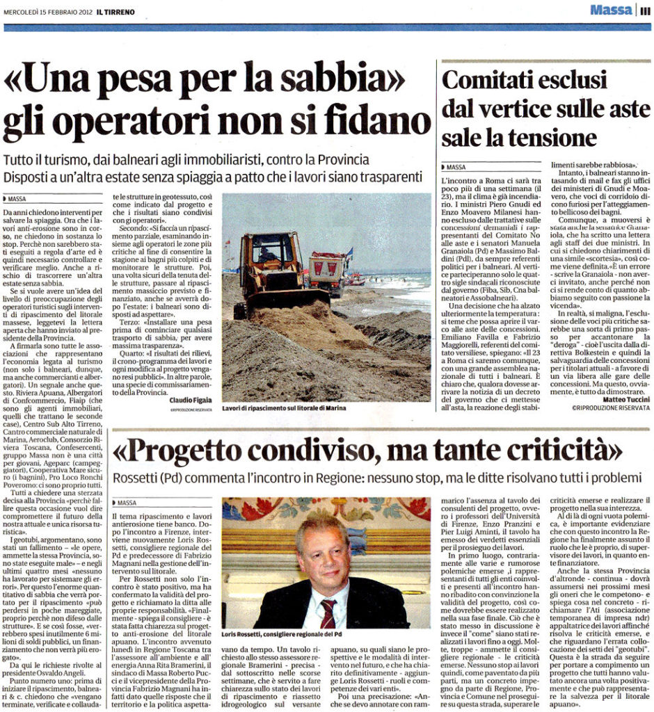 """15 Febbraio - Il Tirreno: """"Una pesa per la sabbia. Gli operatori non si fidano"""""""
