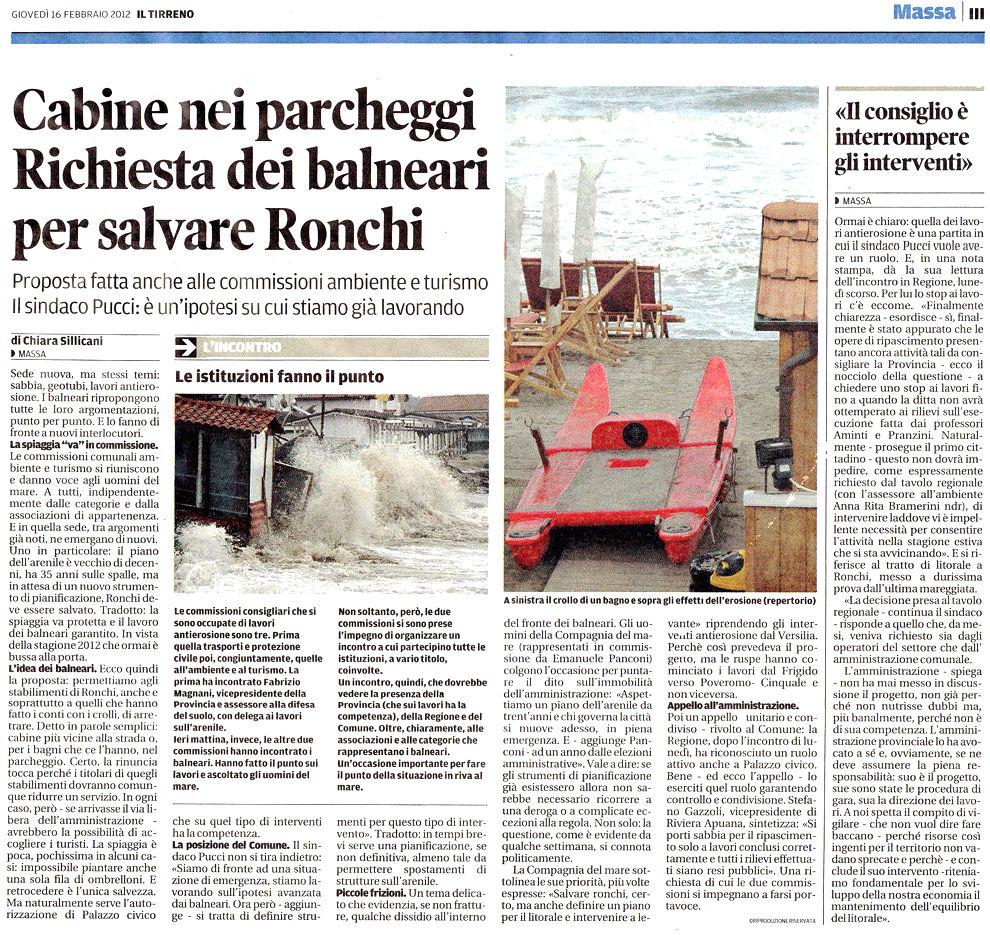 """Il Tirreno: """"Cabine nei parcheggi. Proposta dei balneari per salvare Ronchi"""""""