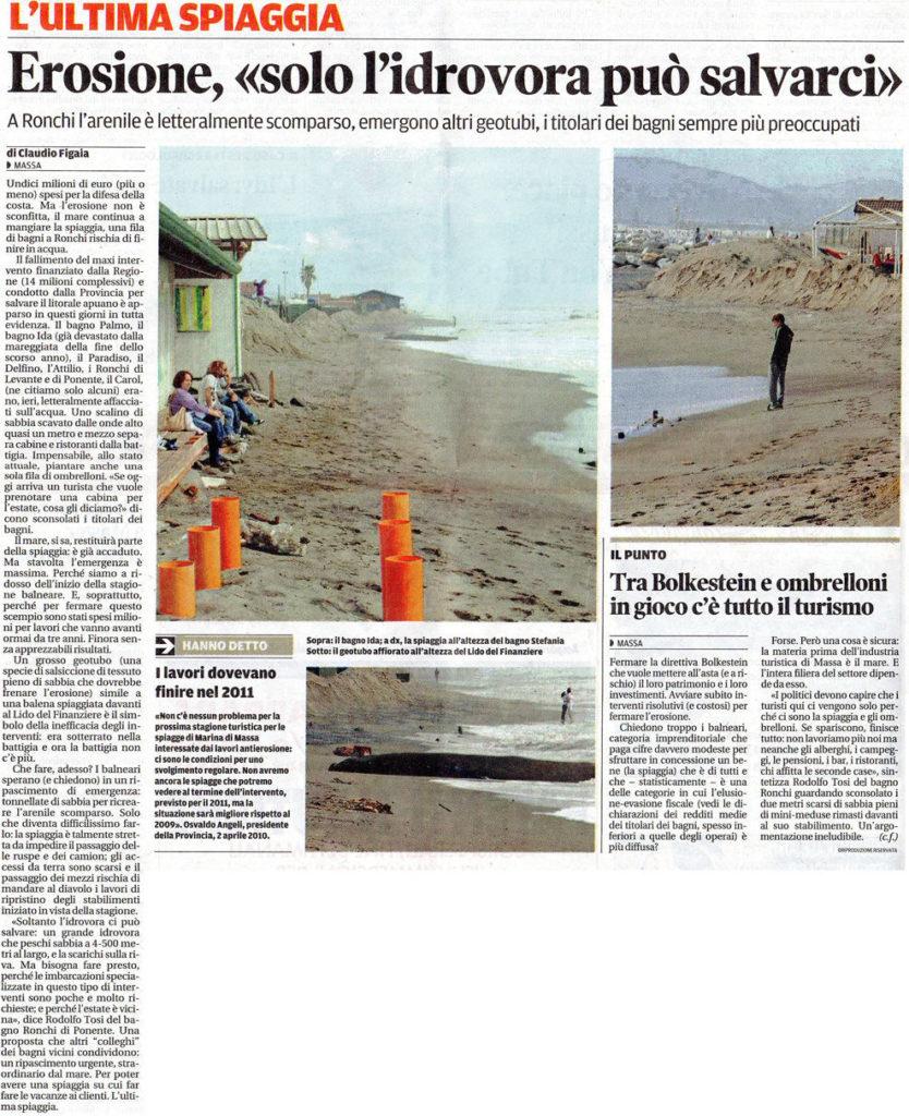 """Il Tirreno: """"Erosione: solo l'idrovora può salvarci"""""""