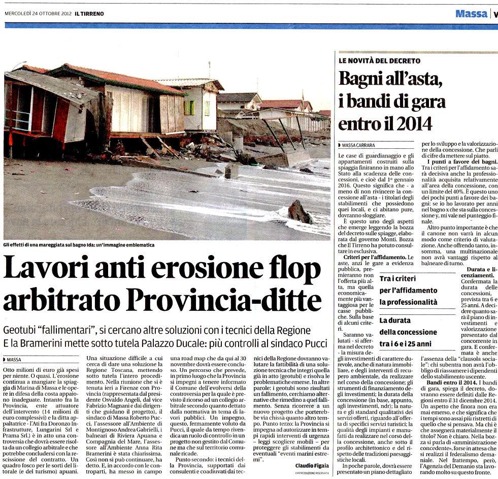 """Il Tirreno: """"Lavori anti erosione flop: arbitrato Provincia-ditte"""""""