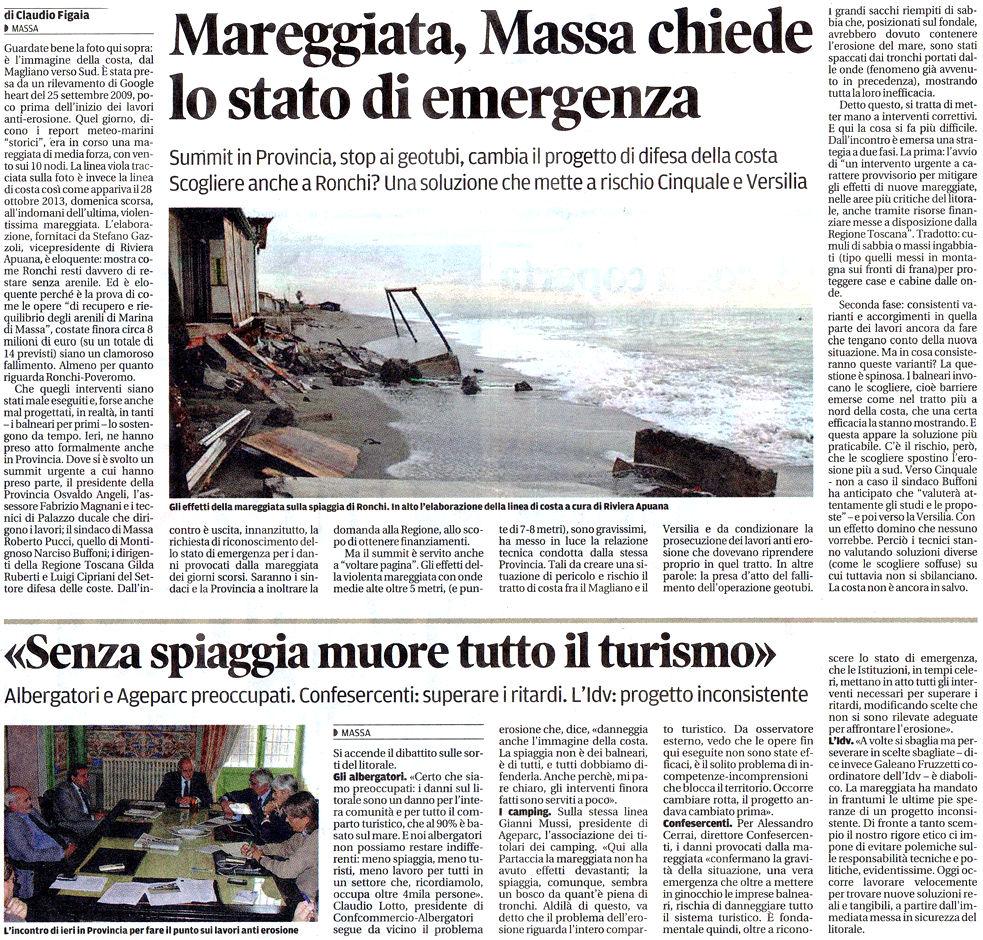 """Il Tirreno: """"Mareggiata, Massa chiede lo stato di emergenza"""""""