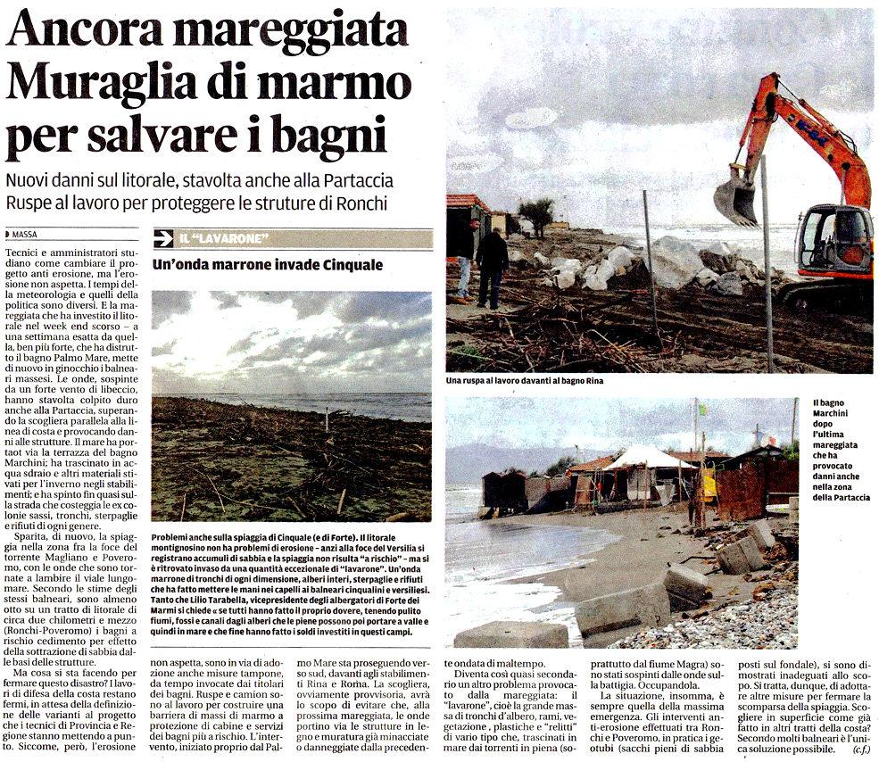 """Il Tirreno: """"Ancora mareggiata. Muraglia di marmo per salvare i balneari"""""""