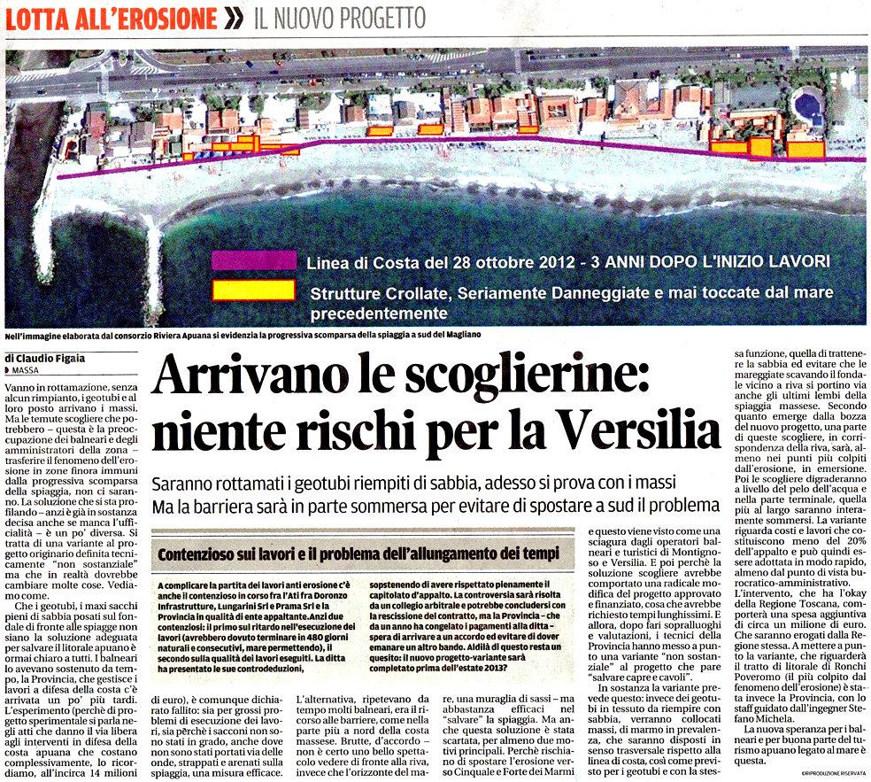 """Il Tirreno: """"Arrivano le scoglierine: niente rischi per la Versilia"""""""