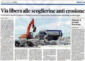 """Il Tirreno: """"Via libera alle scoglierine anti erosione"""""""