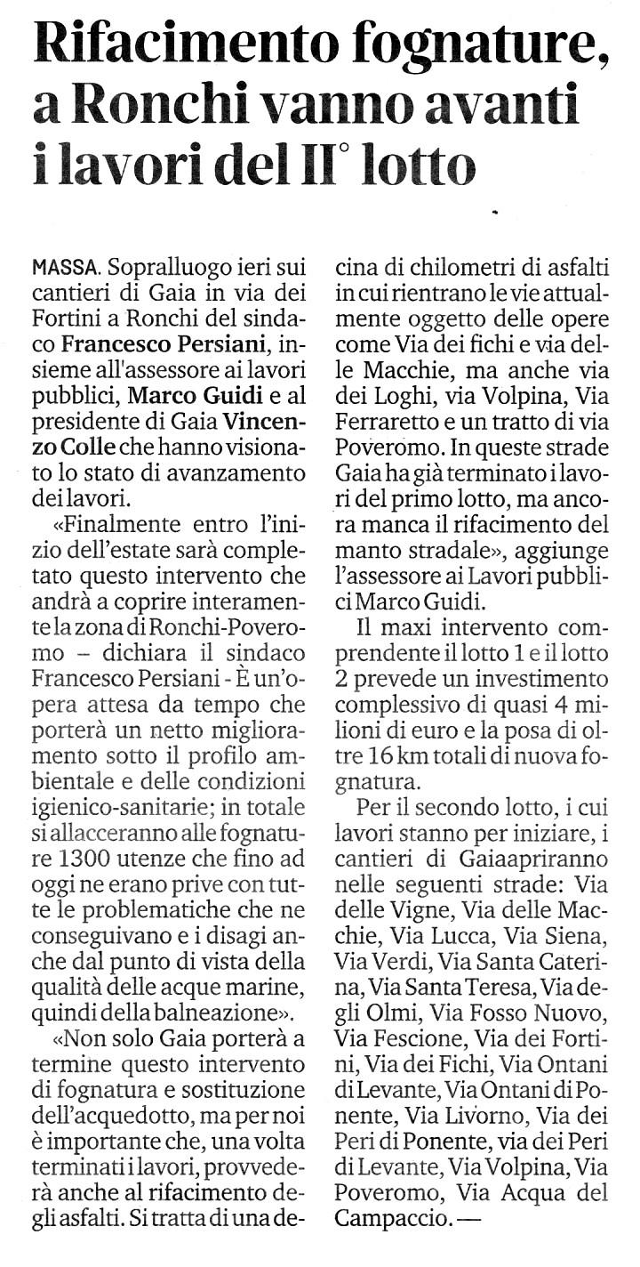 """Il Tirreno: """"Rifacimento fognature, a Ronchi vanno avanti il lavori del II°lotto"""""""