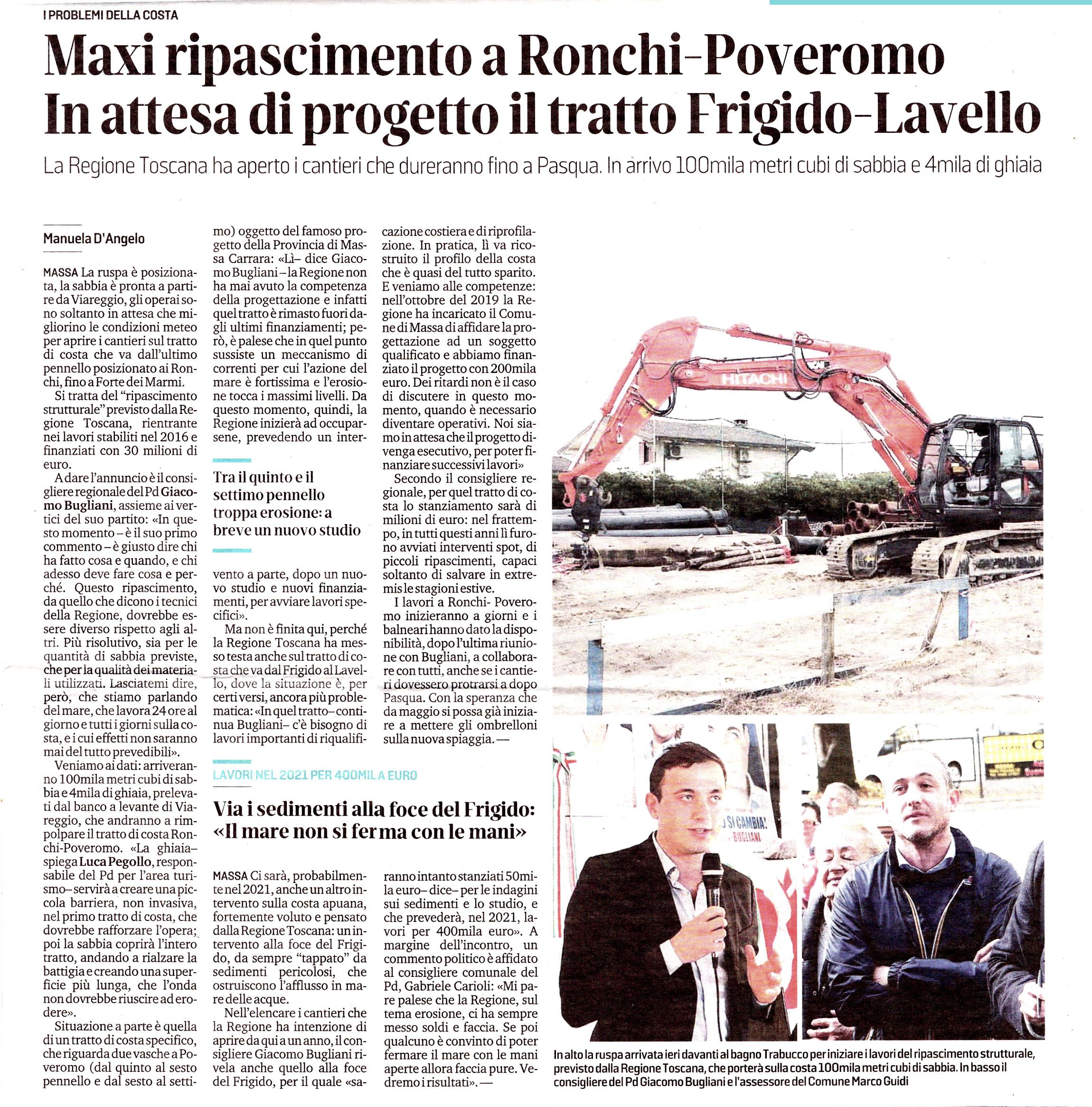 """Il Tirreno: """"Maxi ripascimento a Ronchi-Poveromo - in attesa di porgetto il tratto Frigido - Lavello"""""""
