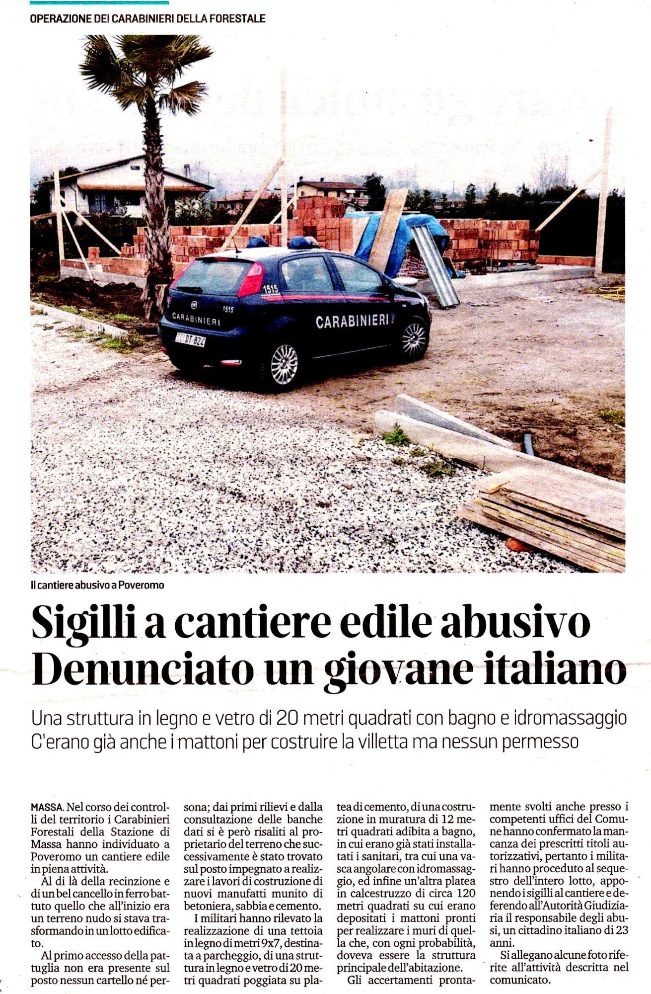 """Il Tirreno: """"Sigilli a cantiere edile abusivo - Denunciato un giovane italiano"""""""