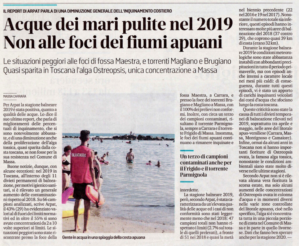 """Il Tirreno: """"Acque dei mari pulite nel 2019 - Non alle foci dei fiumi apuani"""""""