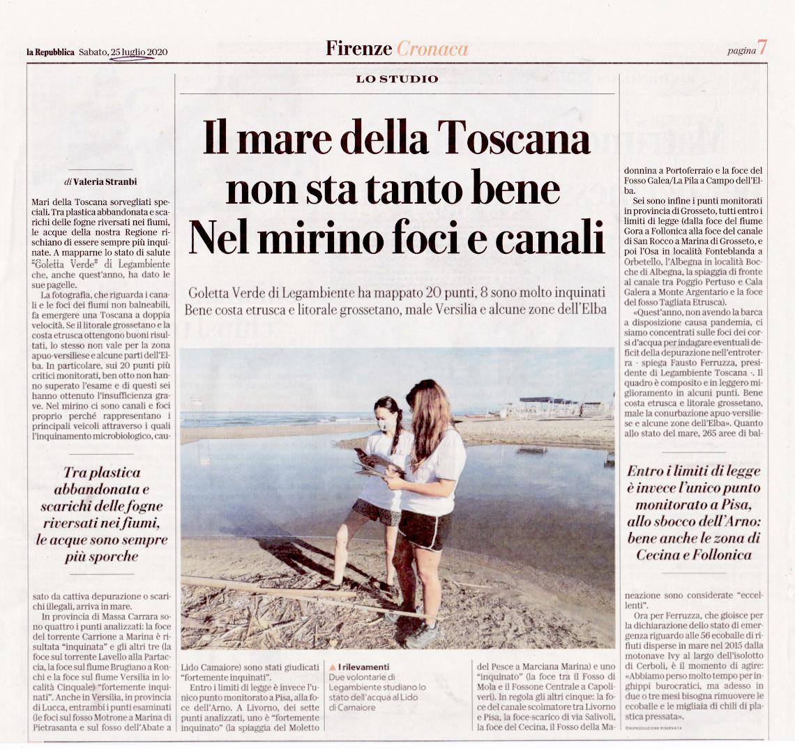"""La Repubblica: """"Il mare della Toscana non sta tanto bene"""""""